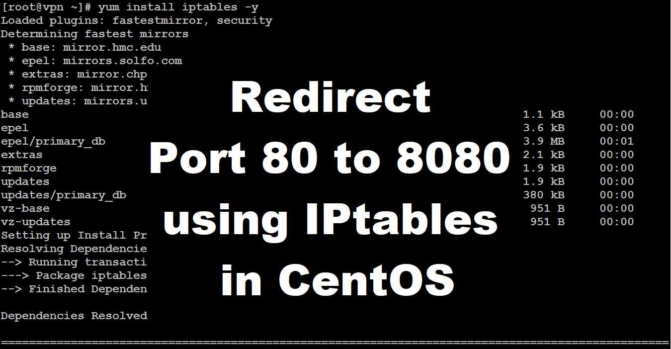Forward port from 80 to 8080 in centos 7 using iptables